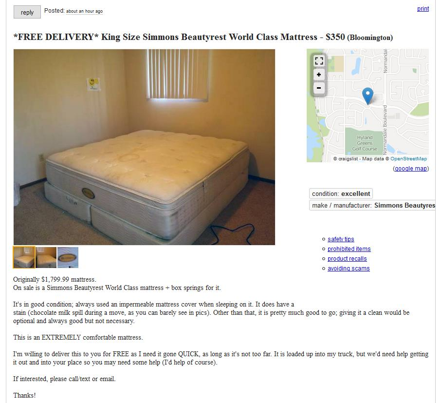 $1800 king-sized, king-quality mattress